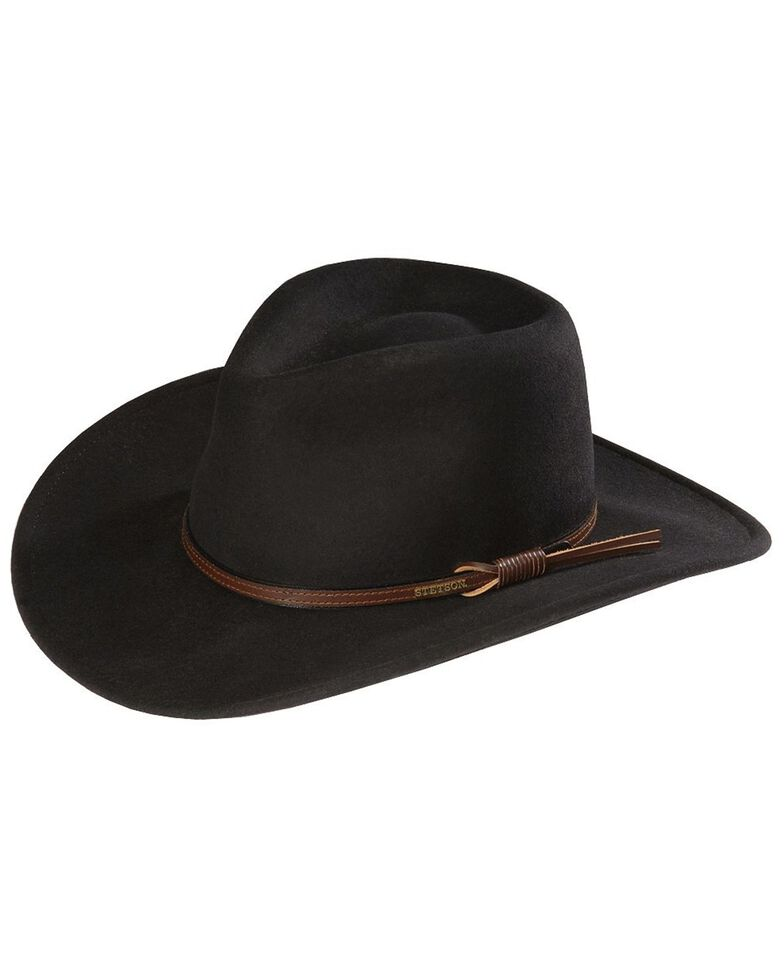 Stetson Bozeman Crushable Wool Hat, Black, hi-res