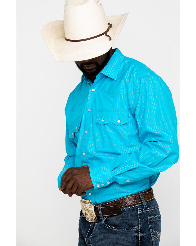 Resistol Men's Turquoise Sam Striped Long Sleeve Western Shirt , Turquoise, hi-res