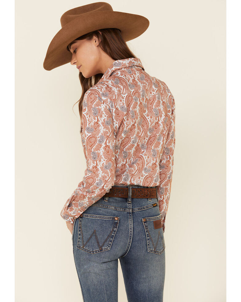 Rough Stock by Panhandle Women's White Paisley Print Long Sleeve Western Shirt, Rust Copper, hi-res