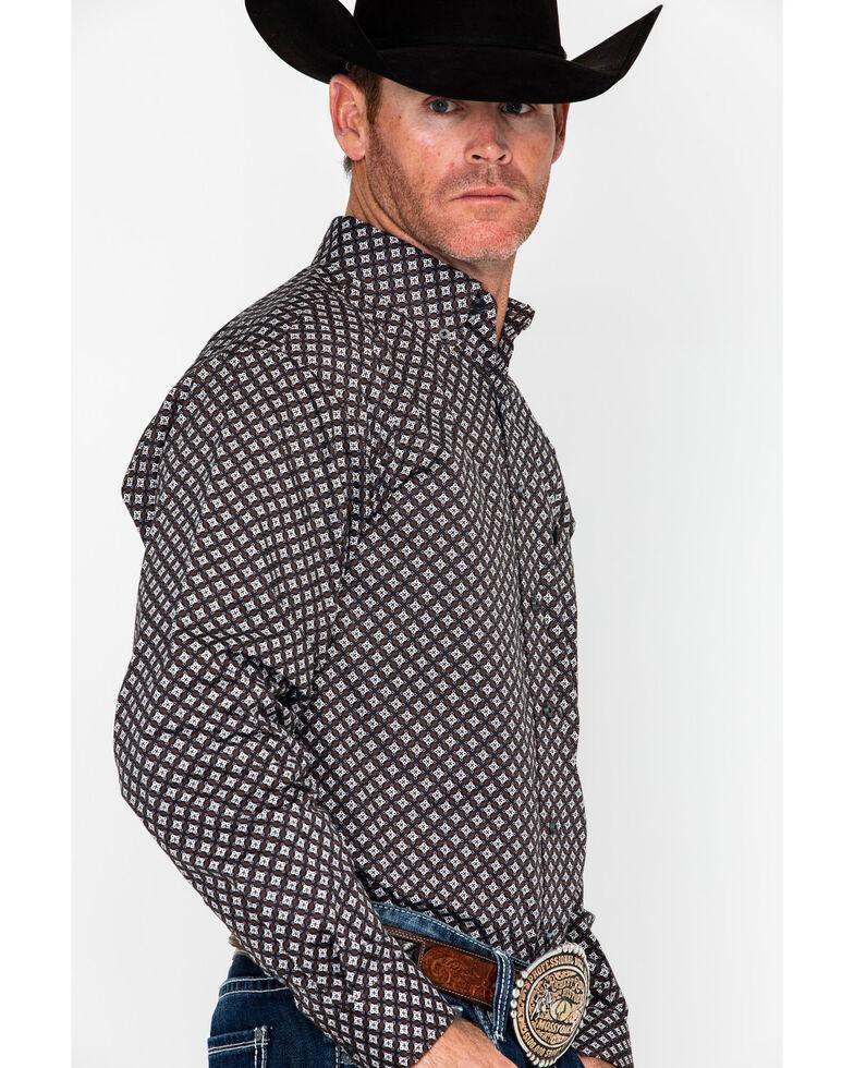 Tuf Cooper Men's Competition Stretch Poplin Print Long Sleeve Western Shirt , Brown, hi-res