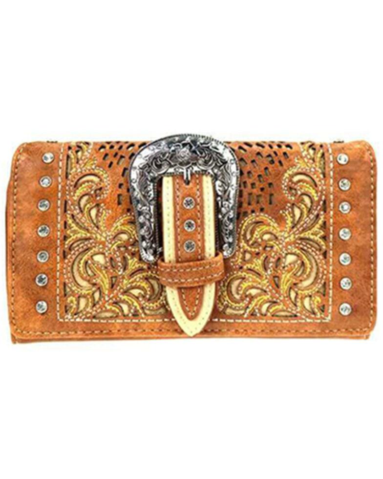 Montana West Women's Tooled Buckle Wallet, Brown, hi-res