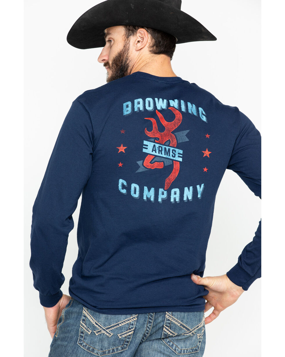 Browning Men's Solid Arms Logo Graphic Long Sleeve Shirt , Navy, hi-res