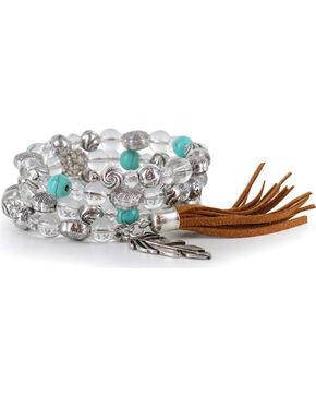 Shyanne® Women's Beaded Feather Charm Bracelet, Multi, hi-res