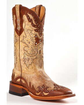 Johnny Ringo Women's Studded Square Toe Western Boots, Tan, hi-res