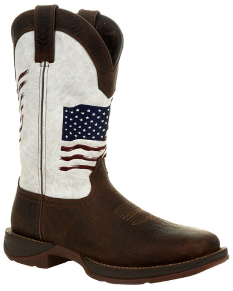 Durango Men's Flag Embroidery Western Boots - Square Toe, Brown, hi-res