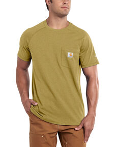Carhartt Men's Force Cotton Short Sleeve Work T-Shirt , Gold, hi-res