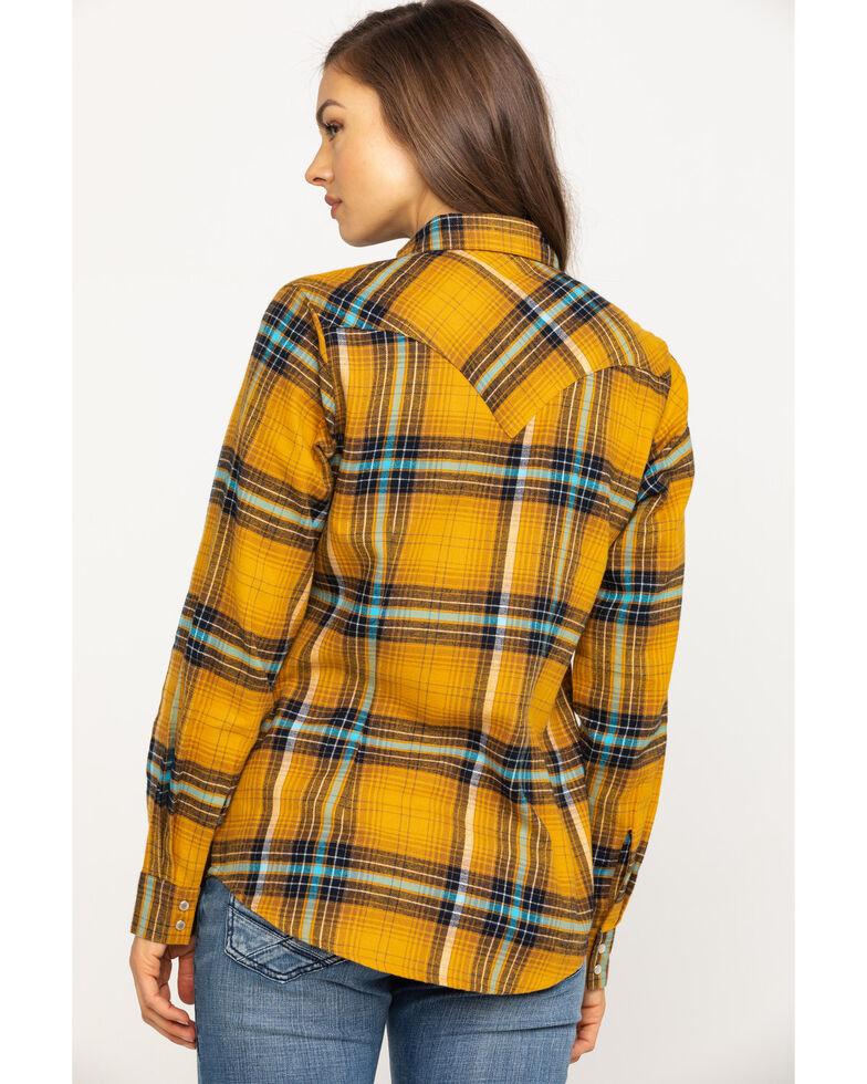 Wrangler Women's Mustard Plaid Flannel Shirt, Dark Yellow, hi-res