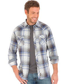 Wrangler Retro Men's Herringbone Print Over Plaid Long Sleeve Western Shirt , Grey, hi-res