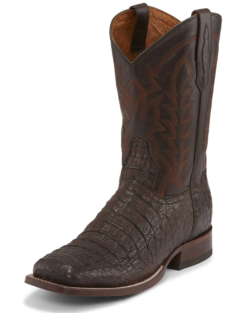 Tony Lama Men's Chocolate Hornback Caiman Boots - Square Toe , Chocolate, hi-res