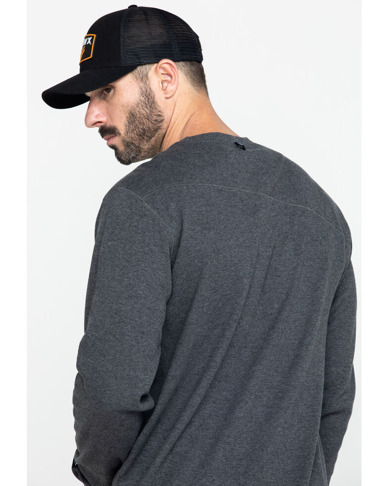 Hawx Men's Grey Solid Asphalt Thermal Crew Long Sleeve Work Shirt - Tall , Charcoal, hi-res