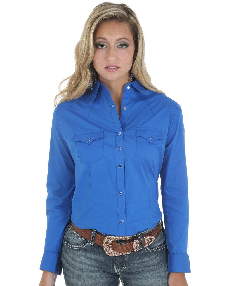 Wrangler Women's Long Sleeve Western Shirt, Blue, hi-res