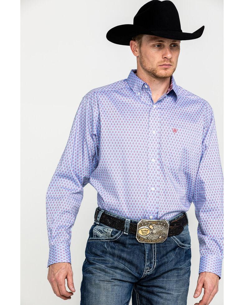 Ariat Men's Wrinkle Free Wansor Geo Print Long Sleeve Western Shirt , Blue, hi-res