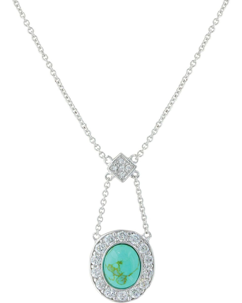 Montana Silversmiths Women's Turquoise Pendulum Lavalier Necklace, Silver, hi-res