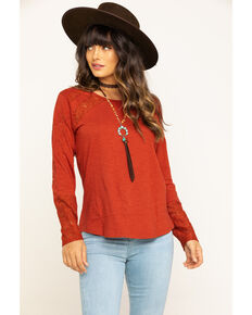 North River Women's Red Embroidered Lace Long Sleeve Top, Red, hi-res