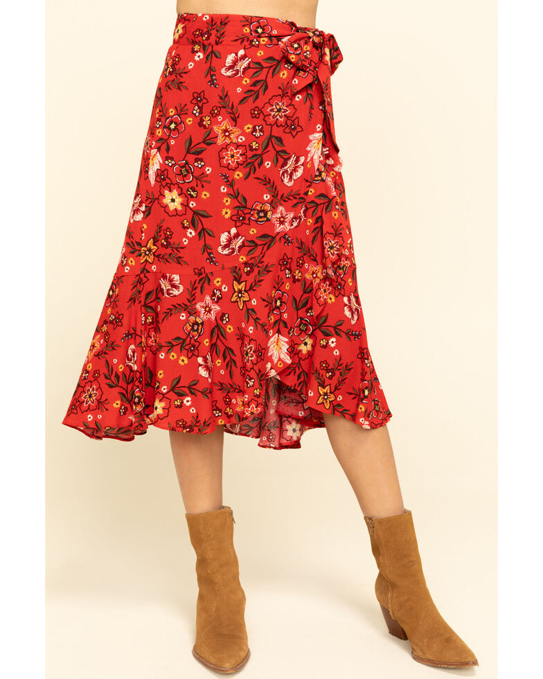 Shyanne Women's Red Floral Wrap Midi Skirt , Red, hi-res