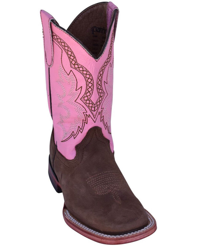 Ferrini Girls' Chocolate Cowhide Western Boots - Square Toe, Chocolate, hi-res