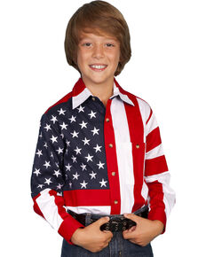 Scully Kid's Long Sleeve American Flag Shirt, Red, hi-res