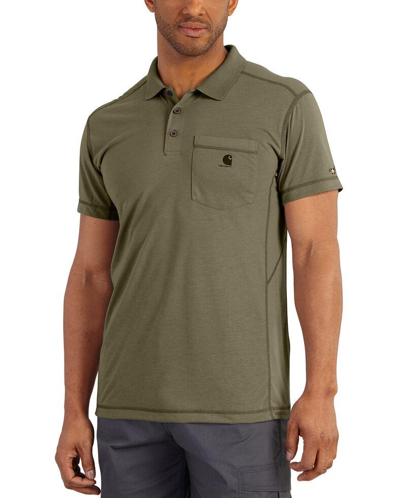 Carhartt Men's Force Extremes Pocket Short Sleeve Work Polo Shirt , Olive, hi-res