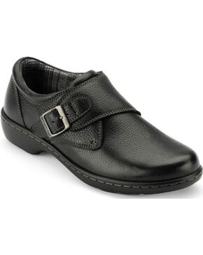 Eastland Women's Black Anna Monk Strap Slip On , Black, hi-res
