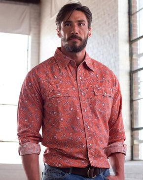 Ryan Michael Men's Clay Vintage Bandana Print Shirt , Red, hi-res