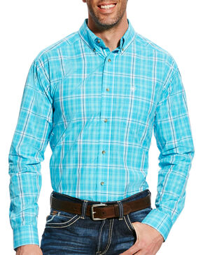 Ariat Men's Turquoise Gus Plaid Short Sleeve Shirt , Turquoise, hi-res