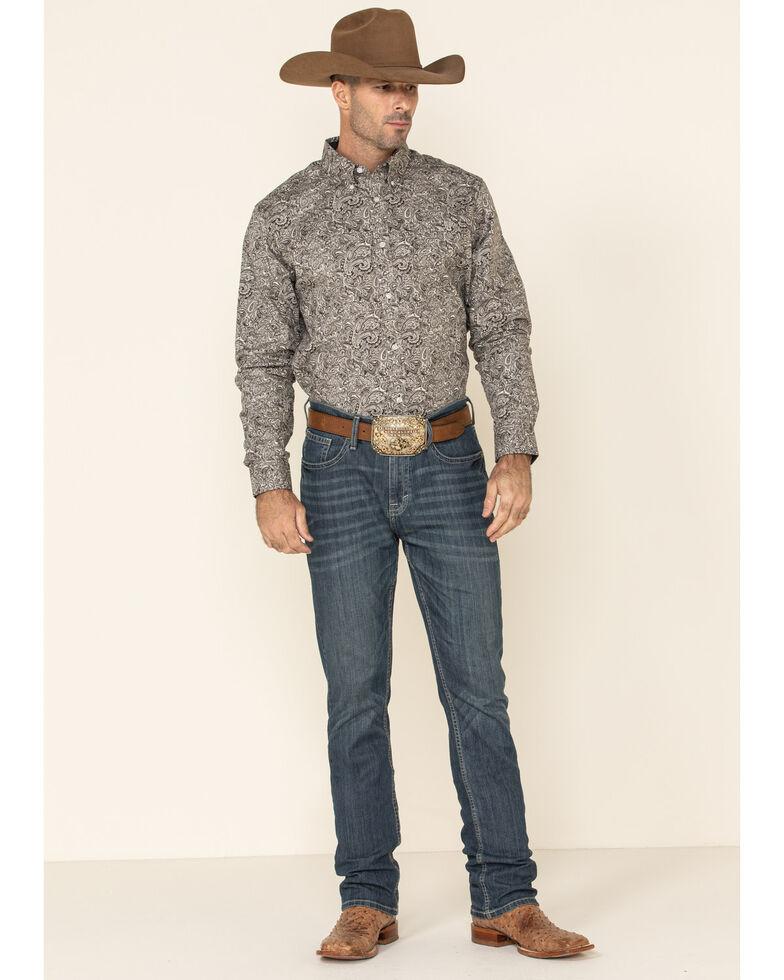 Cody James Core Men's Hawkins Large Paisley Print Long Sleeve Western Shirt , Brown, hi-res