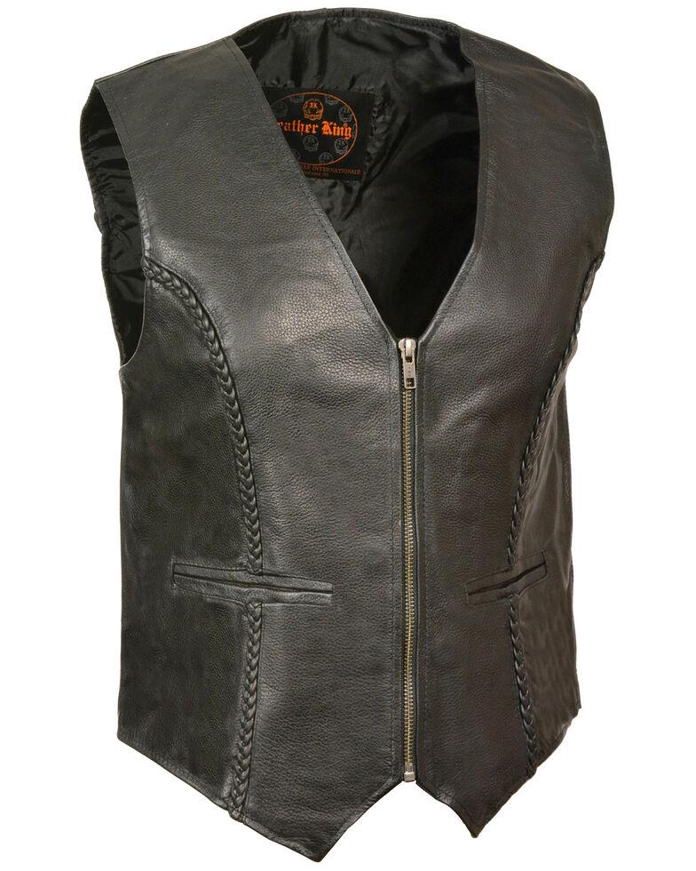 Milwaukee Leather Women's Zipper Front Braided Vest - 4X, Black, hi-res