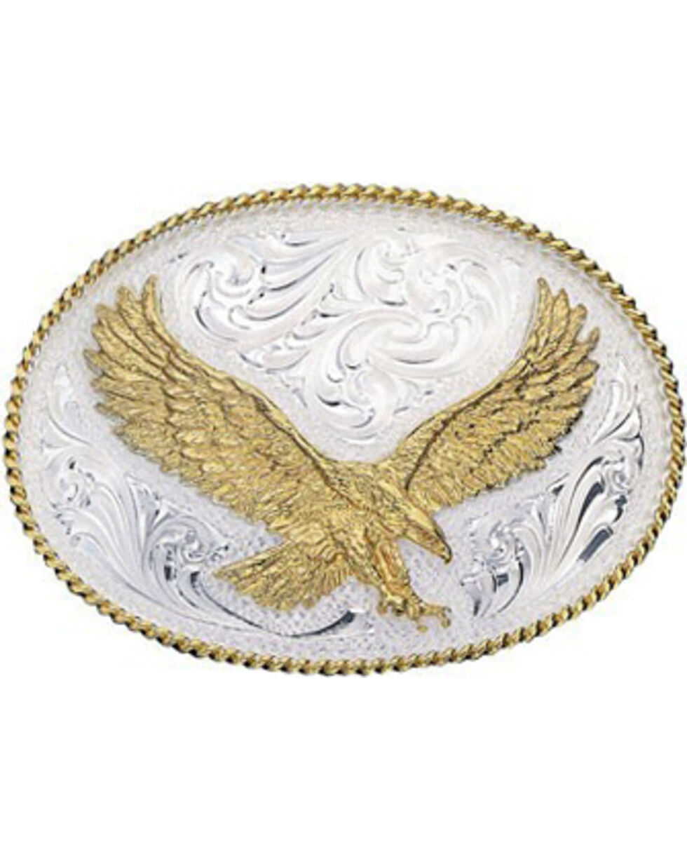 Montana Silversmiths Silver Engraved Small Eagle Western Attitude Belt Buckle, Multi, hi-res