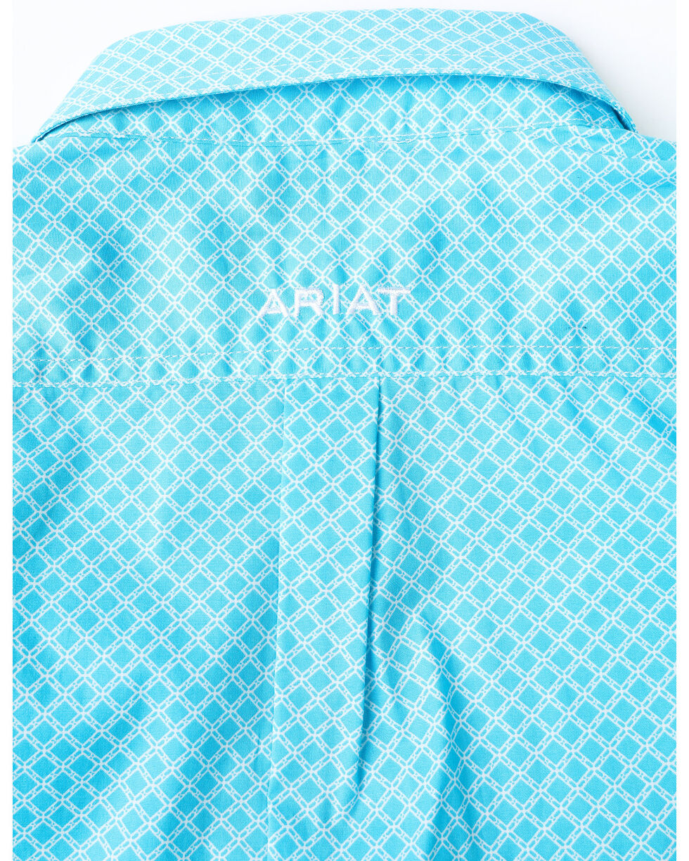 Ariat Boys' Molson Stretch Geo Print Long Sleeve Western Shirt , Turquoise, hi-res