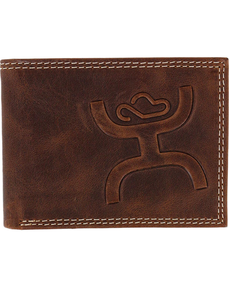 HOOey Men's Embossed Bi-fold Wallet, Brown, hi-res