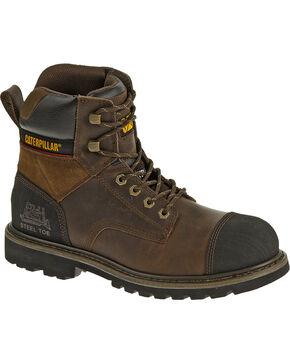 """CAT Men's Traction 6"""" Steel Toe Work Boots, Dark Brown, hi-res"""