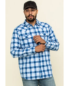 Moonshine Spirit Men's Gary Plaid Long Sleeve Western Shirt , Royal Blue, hi-res