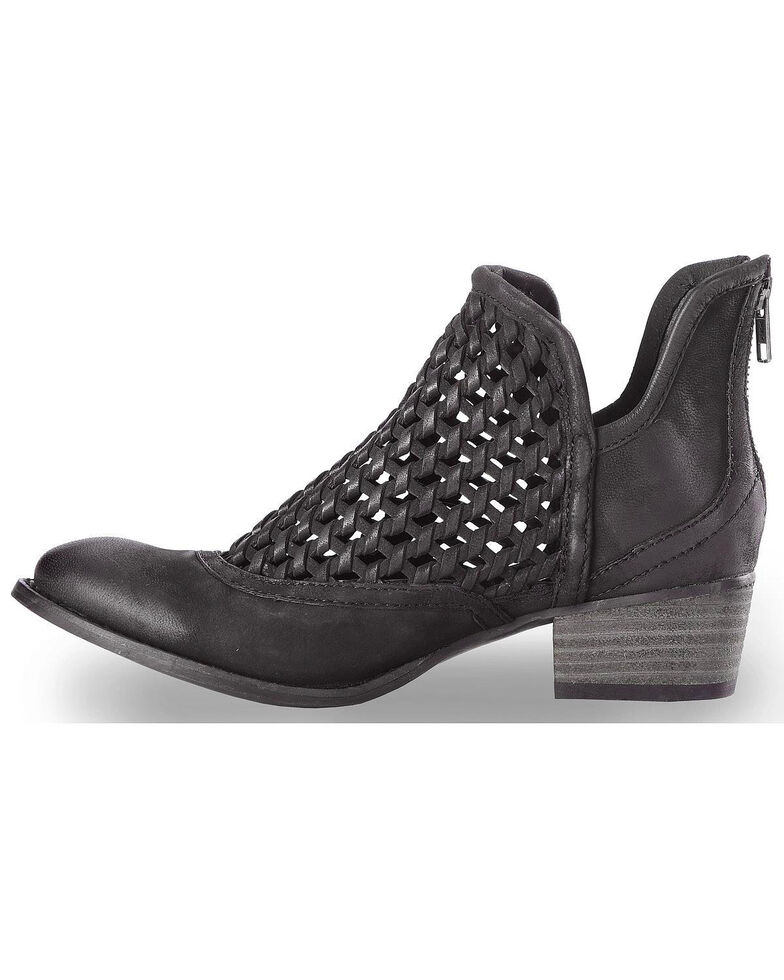 Very Volatile Women's Hudsun Black Woven Booties - Medium Toe, Black, hi-res