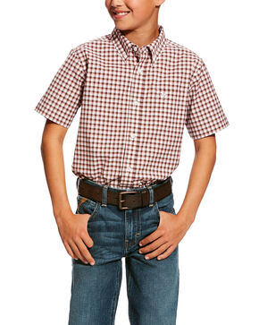 Ariat Boys' Henderson Stretch Plaid Short Sleeve Western Shirt , White, hi-res
