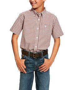Ariat Boys' Henderson Stretch Plaid Short Sleeve Western Shirt , White, hi-res