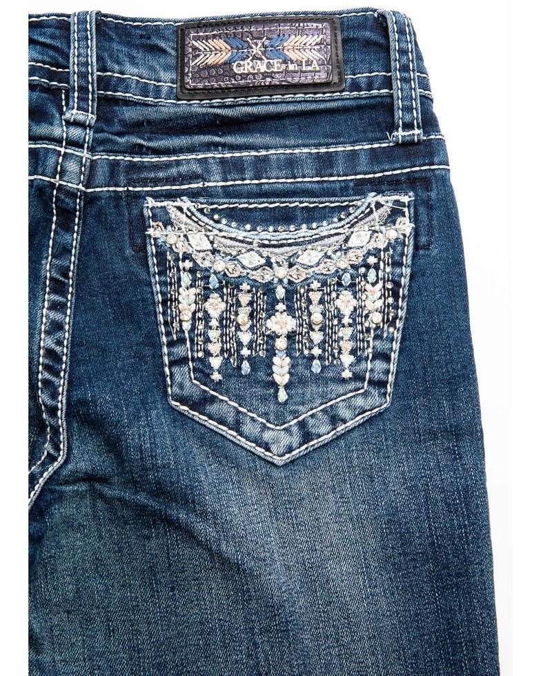 Grace in LA Girls' Border Aztec Bootcut Jeans, Blue, hi-res
