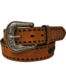 G Bar D Men's Brown Cross Concho Belt, Brown, hi-res
