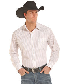 Panhandle Men's Satin Stripe Long Sleeve Western Shirt, Tan, hi-res