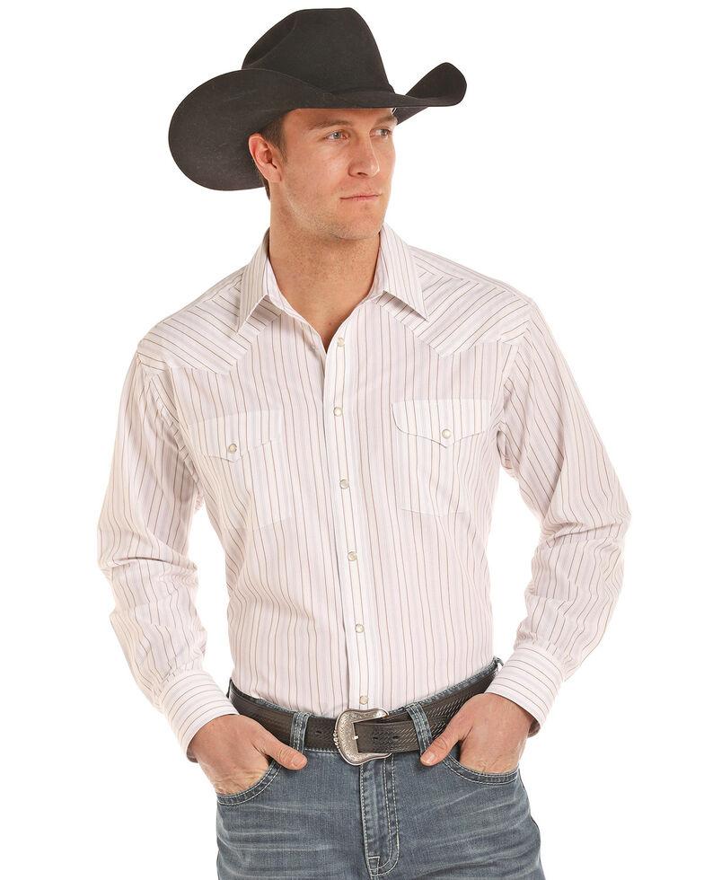 Panhandle Men's Satin Stripe Long Sleeve Western Shirt, Tan, hi-res