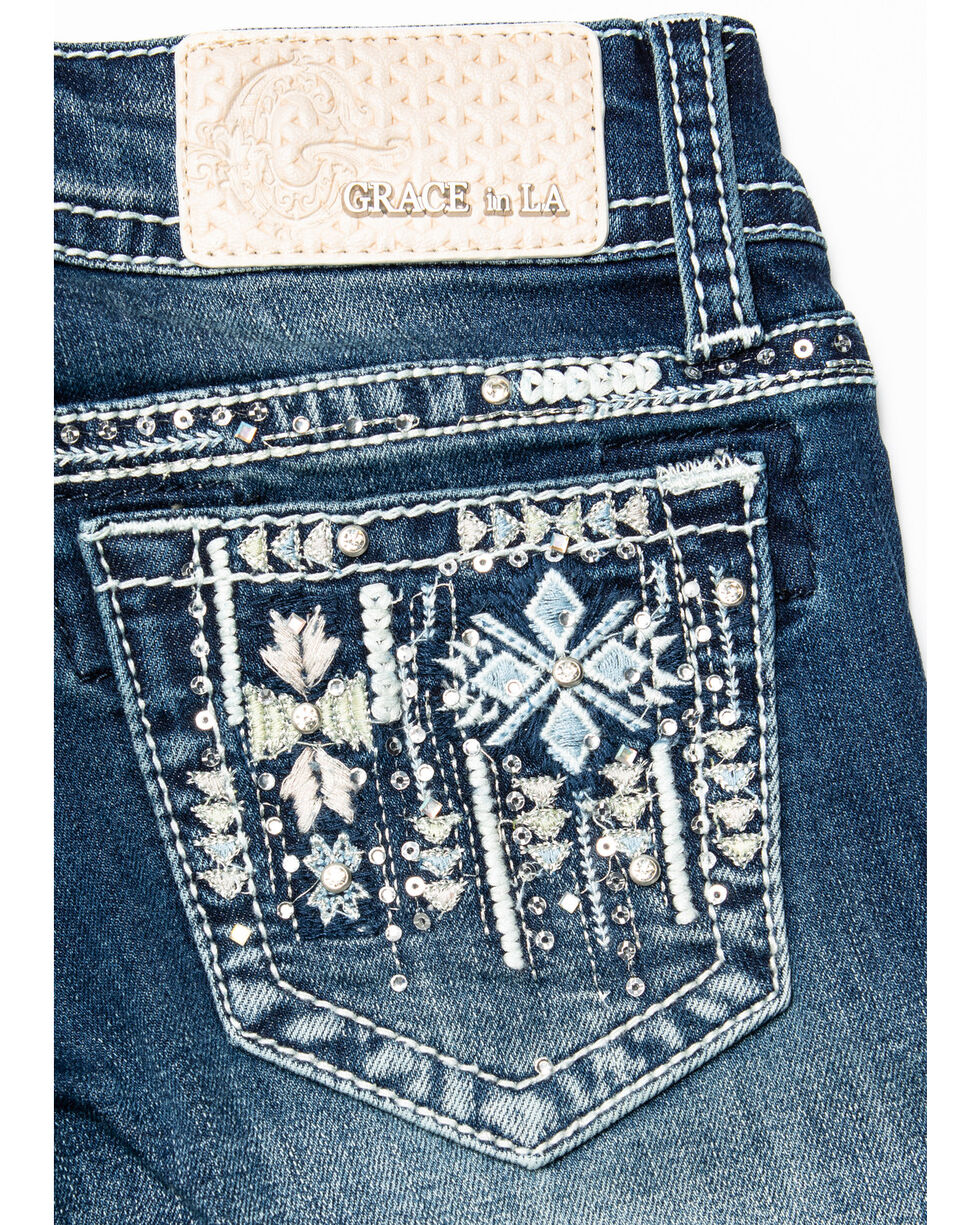 Grace in LA Girls' Aztec Pocket Bootcut Jeans , Blue, hi-res