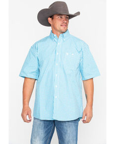 George Strait by Wrangler Men's Small Check Plaid Short Sleeve Western Shirt, Turquoise, hi-res