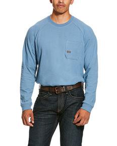 Ariat Men's Blue Rebar Cotton Strong Long Sleeve Work Shirt - Big & Tall , Steel Blue, hi-res