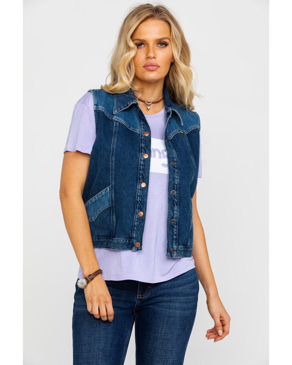 Wrangler Women's Modern Heritage Denim Vest , Blue, hi-res