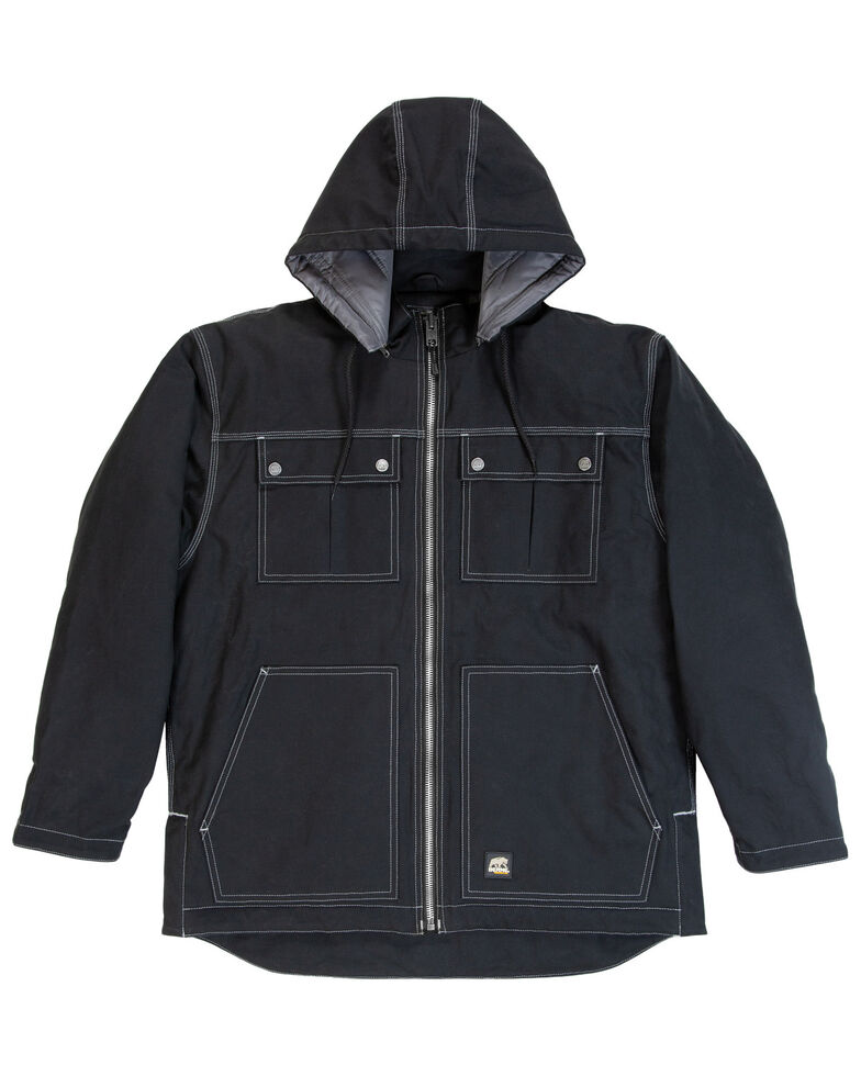 Berne Men's Modern Zip Off Hooded Work Chore Coat - Big , Black, hi-res