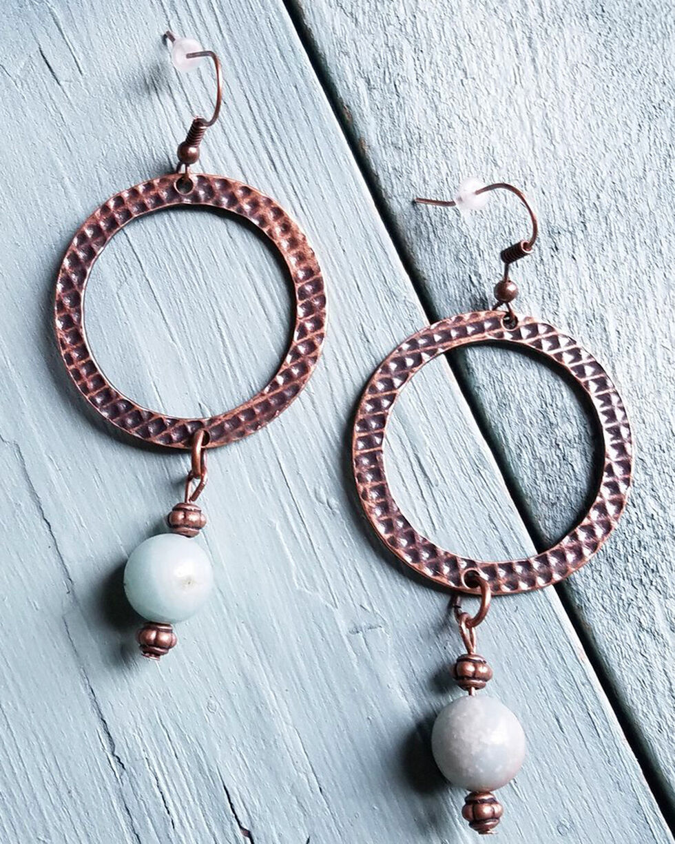 Jewelry Junkie Women's Amazonite Drop Earrings, Rust Copper, hi-res