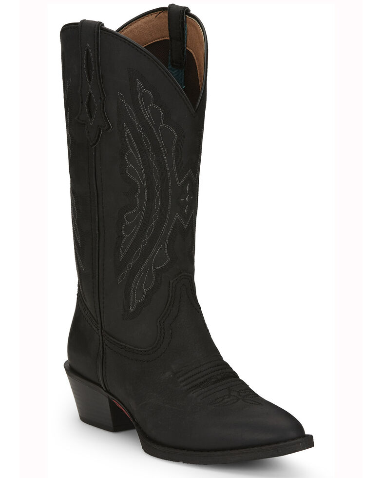 Justin Women's Roanie Western Boots- Round Toe, Black, hi-res