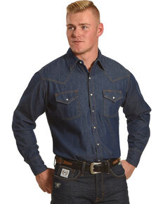 Ely Cattleman Men's Solid Denim Long Sleeve Snap Shirt, Dark Blue, hi-res