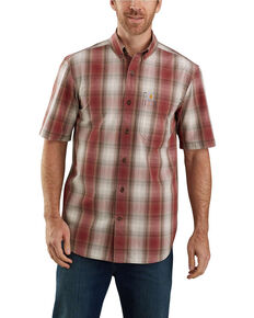 Carhartt Men's Dark Red Essential Plaid Button Down Short Sleeve Work Shirt , Dark Red, hi-res