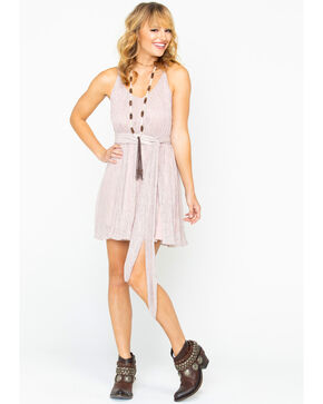 Miss Me Women's Lurex Belted Dress, Blush, hi-res