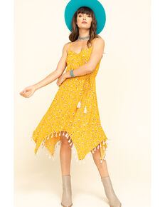 Shyanne Women's Yellow Floral Hanky Dress, Yellow, hi-res